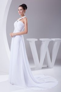 Nice Empire Halter Top Chiffon Wedding Dress with Beading and Ruching
