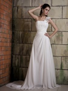Sweet One Shoulder Court Train Chiffon Wedding Gown Dress with Beading