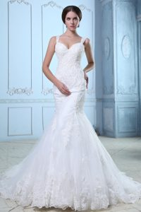 Mermaid Straps Court Train Wedding Dresses in Organza and Lace on Sale