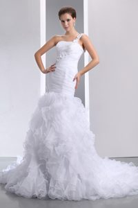 Mermaid One Shoulder Court Train Wedding Dress for Cheap with Ruffles