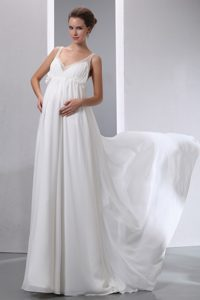 A-line V-neck Beaded Chiffon Maternity Wedding Attires with Brush Train