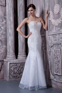 Pretty White Mermaid Sweetheart Long Wedding Gowns in Organza