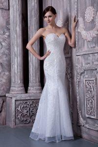 Pretty White Mermaid Sweetheart Long Wedding Gowns in Organza