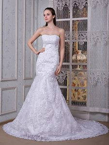 Cheap Mermaid Strapless Court Train Wedding Dress in and Lace