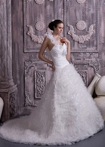 Discount Princess One Shoulder Court Train Wedding Dress with Beading