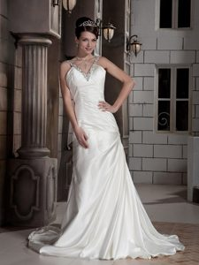 Cheap V-neck Brush Train Satin Wedding Dress with Beading and Ruching