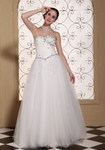 Lovely A-line Long Wedding Dresses with Beadings on Promotion