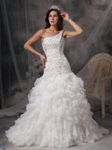 Luxurious A-line One Shoulder Wedding Party Dresses with Ruffles and Beadings