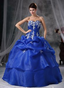 Sky Blue Sweetheart Organza Quinceanera Dress with Appliques and Pick-ups