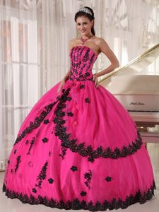 Hot Pink Strapless Layered Organza Quinceanera Dress with Appliques on Sale