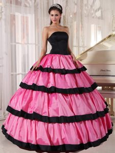 Black and Rose Pink Strapless Quinceanera Dress with Layers for Cheap