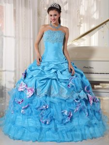 Aqua Blue Strapless Layered Quinceanera Dress with Pick-ups and Bowknots