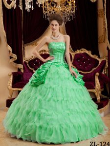 Apple Green Strapless Quinceanera Dresses with Layered Ruffles and Pick-ups