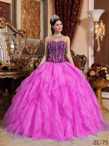 Hot Pink Sweetheart Organza Sweet 16 Dress with Ruffles and Appliques on Sale
