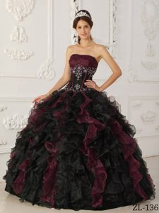 Burgundy and Black Strapless Quinceanera Dress with Appliques and Ruffles