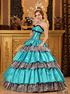 Sweetheart Blue and Leopard Quinceanera Dresses with Layers and Appliques
