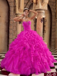 Cheap Hot Pink Sweetheart Ruched Quinceanera Dress with Ruffles and Beading
