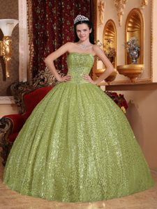 Customized Olive Green Strapless Ball Gown Special Fabric Quinceanera Dress