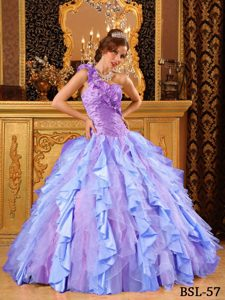 One Shoulder Multi-colored Ruched Sweet 16 Dresses with Ruffles and Beading
