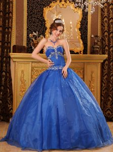 Royal Blue Sweetheart Ball Gown Organza Quinceanera Dresses with Appliques
