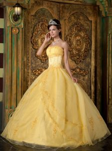 Yellow Strapless Organza Quinceanera Gown Dresses with Appliques for Cheap