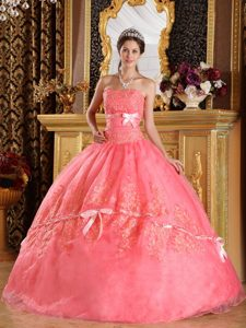 Watermelon Strapless Organza Sweet 16 Dresses with Appliques and Bowknots