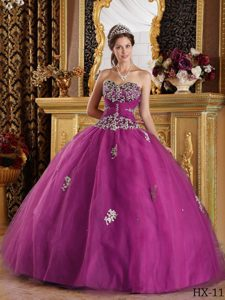 Fuchsia Sweetheart Ball Gown Tulle Quinceanera Dress with Appliques for Cheap