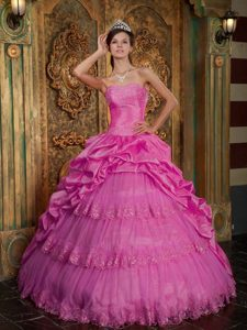 Hot Pink Strapless Layered Tulle Beaded Sweet 16 Dresses with Pick-ups
