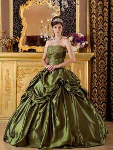 New Olive Green Strapless Sweet 16 Dress with Pick-ups and Appliques