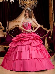 Hot Pink Sweetheart Layered Appliqued Quinceanera Dress with Pick-ups