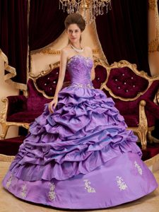 Purple Sweetheart Ruched Sweet 16 Dress with Appliques and Pick-ups