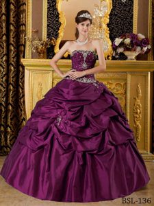 Dark Purple Strapless Quinceanera Dresses with Beading and Pick-ups