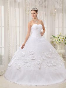 White Sweetheart Ruched Organza Sweet 16 Dress with Flowers and Appliques