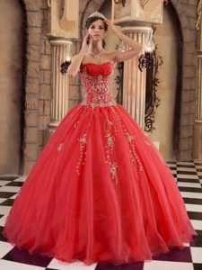 Red Organza Beading Dresses for Quinceaneras with Gold Appliques 2013