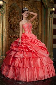 Ball Gown Strapless Organza Beading Quinceanera Dresses in Watermelon