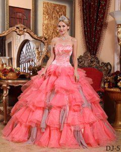 Watermelon Sweetheart Beading Sweet Sixteen Dresses Made in Organza