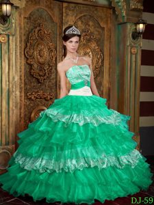 Turquoise Strapless Organza and Zebra for Layered Ruffles Quince Dresses