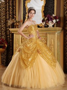 Sweetheart Sequined and Tulle Quinceanera Dresses in Gold with Flowers