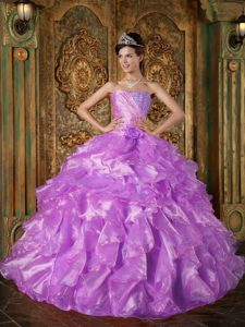 Fuchsia Ball Gown Strapless Beading and Ruffles Sweet Sixteen Dresses