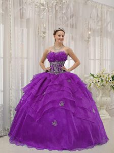 Purple Strapless Organza Beading Quinceanera Gown Dresses with Layers