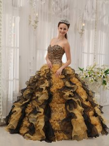 Multi-color Organza Beading Quinceanera Dress with Leopard Fabric Accent