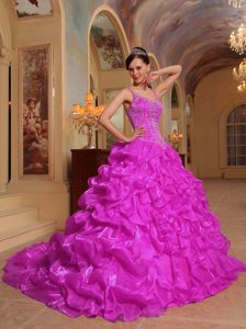 Fuchsia Spaghetti Straps Embroidery 2013 Quinceanera Dress with Ruffles