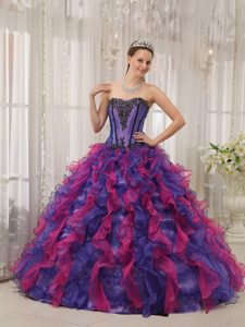Ball Gown Sweetheart Organza Appliques Quinceanera Dresses in Multi-color