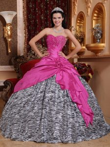 Hot Pink Sweetheart and Zebra Beading Dresses for A Quinceanera