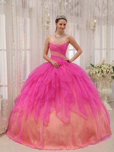 Hot Pink and Yellow Strapless Beading Quinceanera Dress Made in Organza
