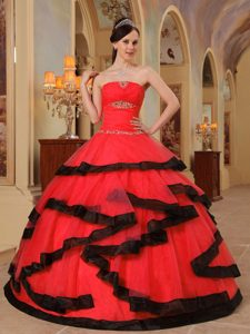 Red and Black Strapless Organza Appliques 2013 Dress for Quinceaneras