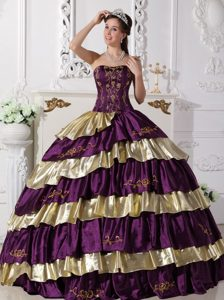 Purple and Gold Strapless Embroidery Sweet Sixteen Quinceanera Dresses