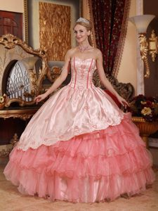 Watermelon and Organza Embroidery Quinceanera Dresses Gowns