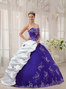 Purple and White Sweetheart Embroidery Quince Dress Made and Taffeta