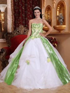 Organza Beading and Appliques Dress for A Quinceanera in White and Green